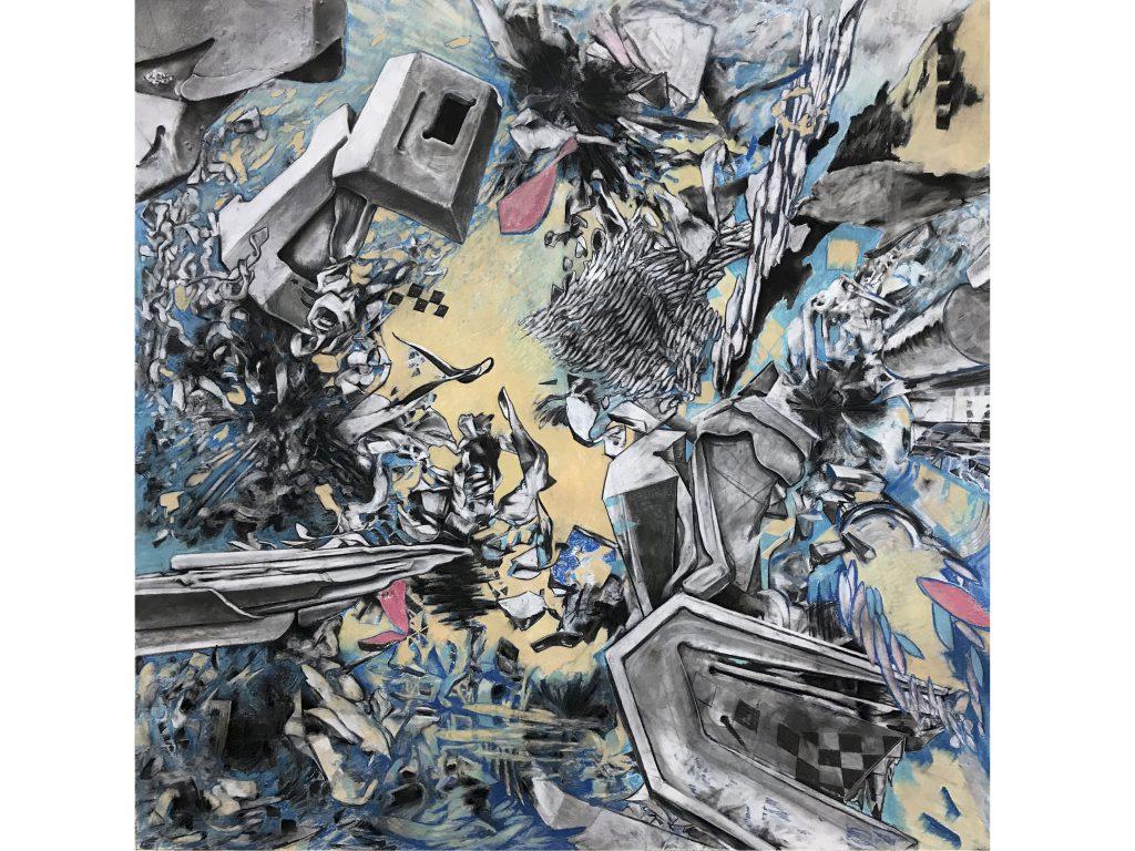 """Daniel Nehring Kunstwerk """"4-point perspective organigram"""" Pastell, Zeichnung, Pastel, Drawing, Fine Art, Art"""